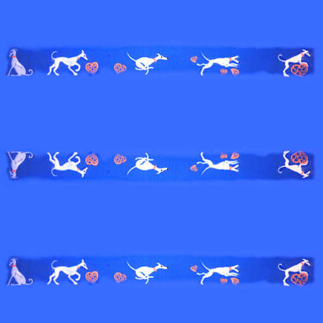 """White hounds & copper hearts-collars1to2""""-strip fabric by cloudsong_art on Spoonflower - custom fabric"""