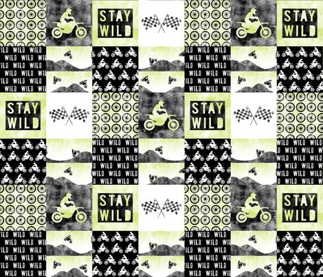Motocross Patchwork - Stay Wild -   Green fabric by littlearrowdesign on Spoonflower - custom fabric