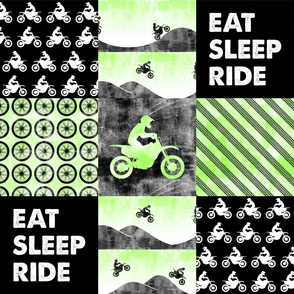 Motocross Patchwork - EAT SLEEP RIDE - bright green