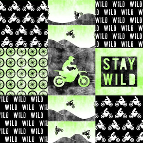 Motocross Patchwork - Stay Wild -  Bright Green