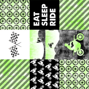 Motocross Patchwork - EAT SLEEP RIDE - bright green (90)