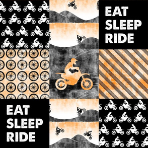 Motocross Patchwork - EAT SLEEP RIDE - orange