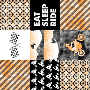 Motocross Patchwork - EAT SLEEP RIDE - orange (90)