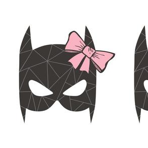 Girly Geometric Bat Mask with Pink Bow Plush Plushie Softie Cut & Sew