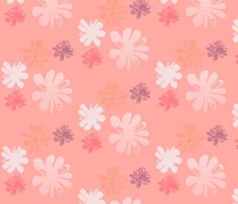Flower blossom on pale pink background fabric by marta_caldas on Spoonflower - custom fabric