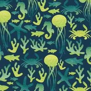 Sea life. Watercolor pattern