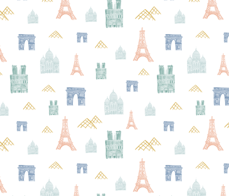 Watercolor Map of Paris fabric by montgomeryfest on Spoonflower - custom fabric