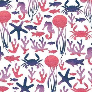 Sea life. White pattern