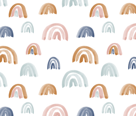 """Earth Tones 2"""" Scattered Watercolor Rainbows fabric by montgomeryfest on Spoonflower - custom fabric"""