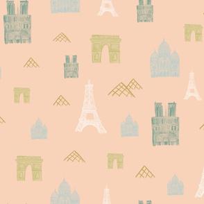 Map of Paris on Pink