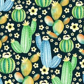 Watercolor cactus. Blue pattern