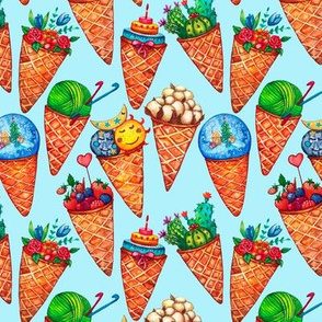 Colorful seamless pattern with Ice cream cone funny icons on blue