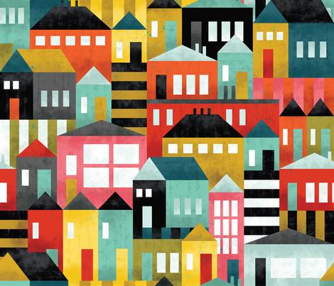 Bau Houses fabric by cynthiafrenette on Spoonflower - custom fabric