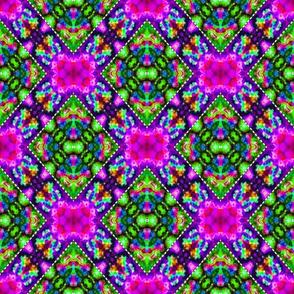 Stitched Pink & Green Locking Diamonds