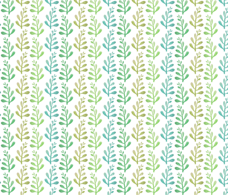 water color leaves white fabric by indigo_iris on Spoonflower - custom fabric