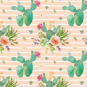 Paddle Cactus Floral – Blush Peach Stripe
