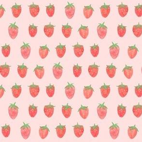watercolor strawberries pink