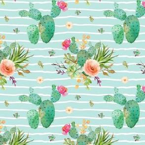Paddle Cactus Floral – Crystal Blue Stripe