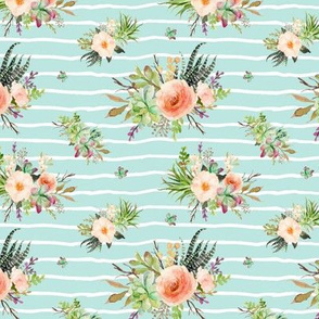 Cactus Floral – Crystal Blue Stripe