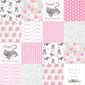 Purrrfect Kitten Patchwork Quilt - Pink & Grey - Purrrfect... just like my mama