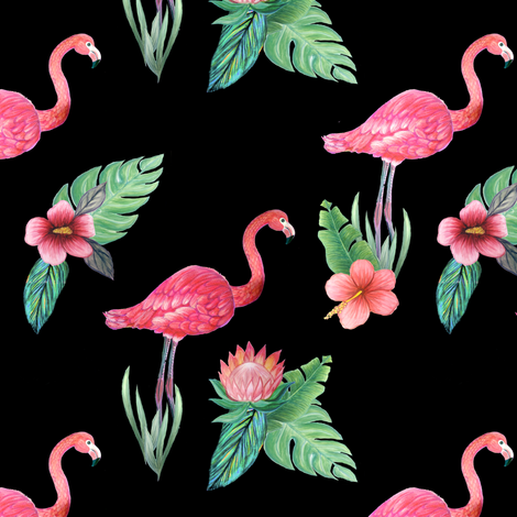 flamingo tropical floral on black fabric by magentarosedesigns on Spoonflower - custom fabric