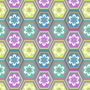 Flower Hexes - Bright - Large