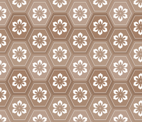 Flower Hexes - Sepia Large fabric by ameliae on Spoonflower - custom fabric