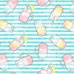 pink lemonade - teal stripes