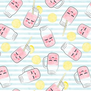 pink lemonade - happy on light blue stripes