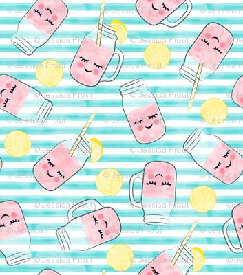 pink lemonade - happy on teal stripes