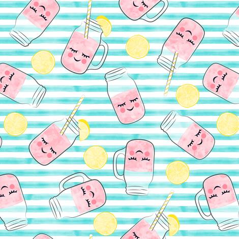 pink lemonade - happy on teal stripes fabric by littlearrowdesign on Spoonflower - custom fabric