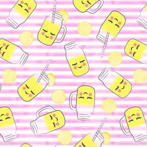lemonade - happy on pink stripes