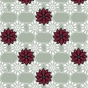 Holiday lace 2b sage and white 6 plus flowers red