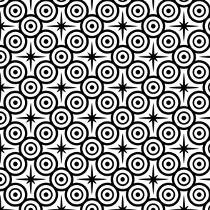 Black circles and 8 pointed stars