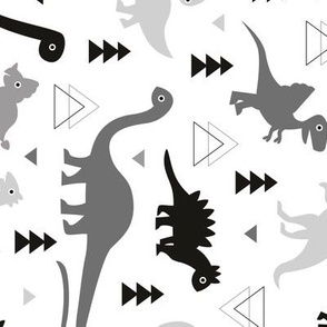 Adorable dino boys fabric with black and gray dinosaur geometric triangles and funky animal illustration theme for kids rotated