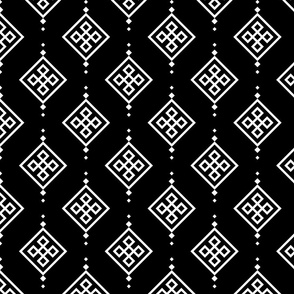 white pattern on black background