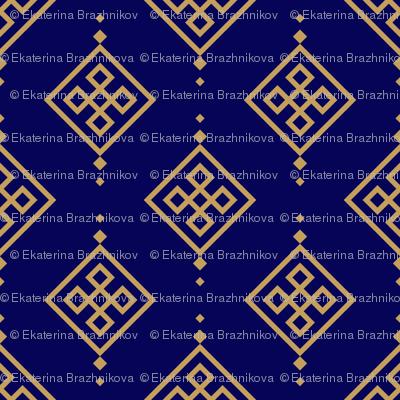 Gold pattern on dark blue background