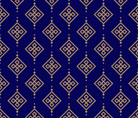 Gold pattern on dark blue background fabric by brazhnikova_ekaterina on Spoonflower - custom fabric