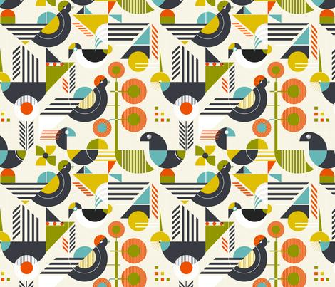 Bauhaus style birds fabric by avisnana on Spoonflower - custom fabric