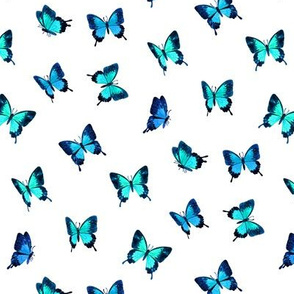 Tiny Mountain Blue Butterflies in Watercolor on White - scattered