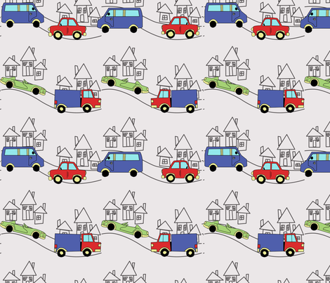 cars, houses, road fabric by avot_art on Spoonflower - custom fabric