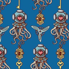 Octopuses in love coordinate navy