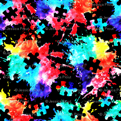 (small scale) autism awareness watercolor splatter fabric w/ puzzle piece (black) C18BS