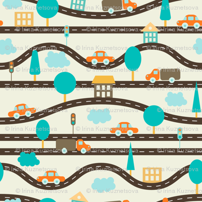 pattern with roads, cars