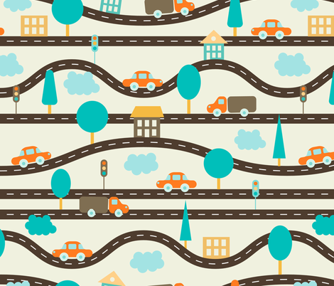 pattern with roads, cars fabric by sandystorm on Spoonflower - custom fabric