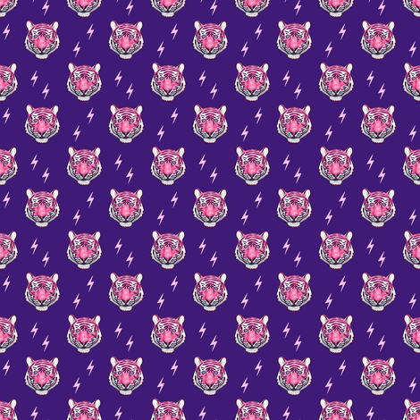 (small scale) tiger with bolts (pink on purple) fabric by littlearrowdesign on Spoonflower - custom fabric
