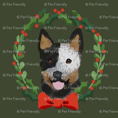 xmas australian cattle dog blue heeler christmas wreath dog fabric green