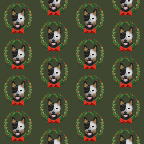 xmas australian cattle dog blue heeler christmas wreath dog fabric green fabric by petfriendly on Spoonflower - custom fabric