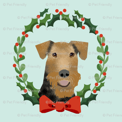 xmas airedale terrier christmas wreath dog fabric blue