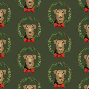 xmas airedale terrier christmas wreath dog fabric green